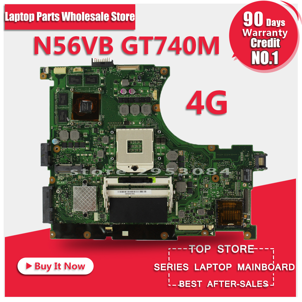 For Asus GT740M REV 2.3 For ASUS N56VM N56VB N56V Motherboard with Discrete Graphics Card N14P-GE-OP-A2 Working Perfect n56vm rev 2 3 laptop motherboard suitable for asus n56vm n56vj n56vz gt630m hm76 system motherboard original new
