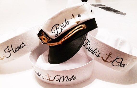 37f261e88c1 custom Nautical sailor wedding bridesmaid bride hats marina Captains hats  cruise Bachelorette birthday Lets Get Nauti