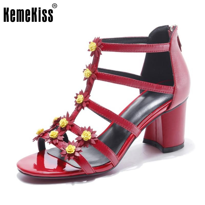 KemeKiss Sexy Ladies Real Leather High Heel Sandals Ankel Strap Flower Summer Shoes Women Sandal Party Footwears Size 34-39 2016 summer high heels16cm sexy waterproof 4cm party women s shoes plus size factory outlet real picture