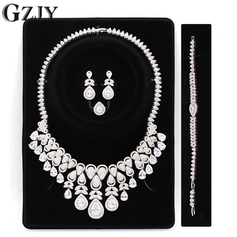 GZJY Gorgeous White Gold Color White Zircon Necklace Earring Bracelet Ring Jewelry Set For Bride Women Wedding Anniversary gorgeous faux crystal oval bracelet with ring for women