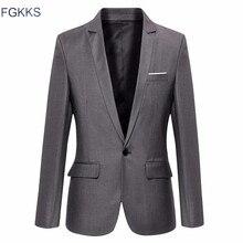 FGKKS Nova Marca Chegada Jaqueta Roupas Outono Terno Homens Blazer moda Slim Ternos Masculinos Casuais Cor Sólida Blazers Homens Tamanho M-3XL