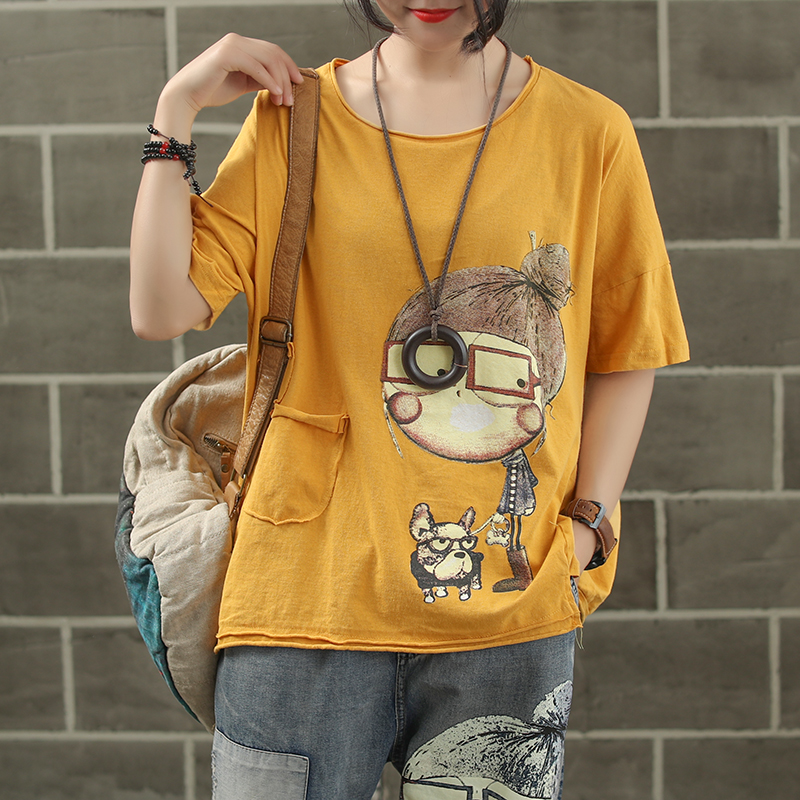 Women Fashion Brand Summer Vintage Patchwork Cartoon Dog Little Girl Print Sweet Short Sleeve T-shirt Female Casual Tee Tshirts