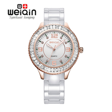 WEIQIN New 100% Ceramic Watches Women Clock Dress Wristwatch Lady Quartz-watch Waterproof Diamond Gold Watches Luxury Brand