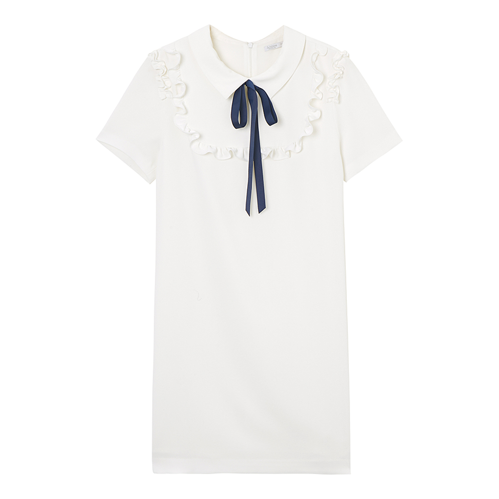 Image 4 - Metersbonwe chiffon dress female spring outfit new style  temperament contracted agaric edge short sleeveDresses
