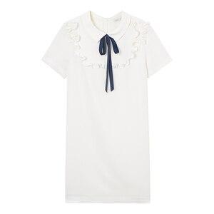 Image 4 - Metersbonwe şifon elbise kadın bahar kıyafet yeni stil mizaç sözleşmeli agaric kenar kısa kollu