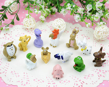solid cartoon toy animal models plastic handdone figures 12pcs/set mini/small size 3cm