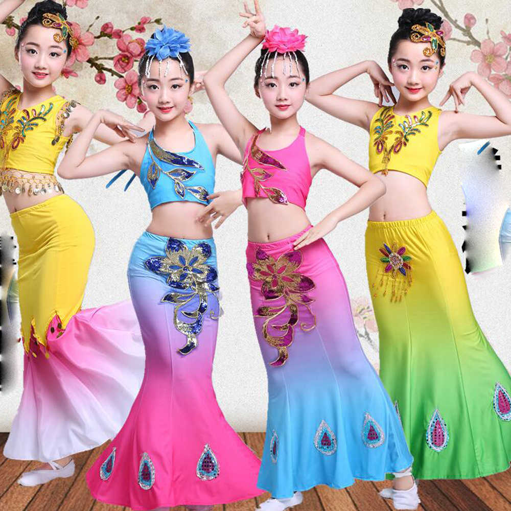 e36abb9cc4f37 Children Indian Traditional dance Dress Sequins Belly Dance Costume Girls  Peacock Kids Dai Fish Tail Leotard Girl Dance wears