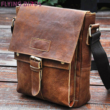 Flying birds! 2016 men's travel bags Genuine leather handbag retro style men messenger bags luxury high quality bags LM0252