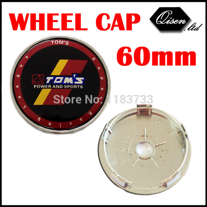 4 X 60MM BLACK TOMS TOM'S CAR WHEEL Hub Center LOGO Caps Metal Aluminum emblem Fits for CAMRY Crown COROLLA REIZ Verso #SO300