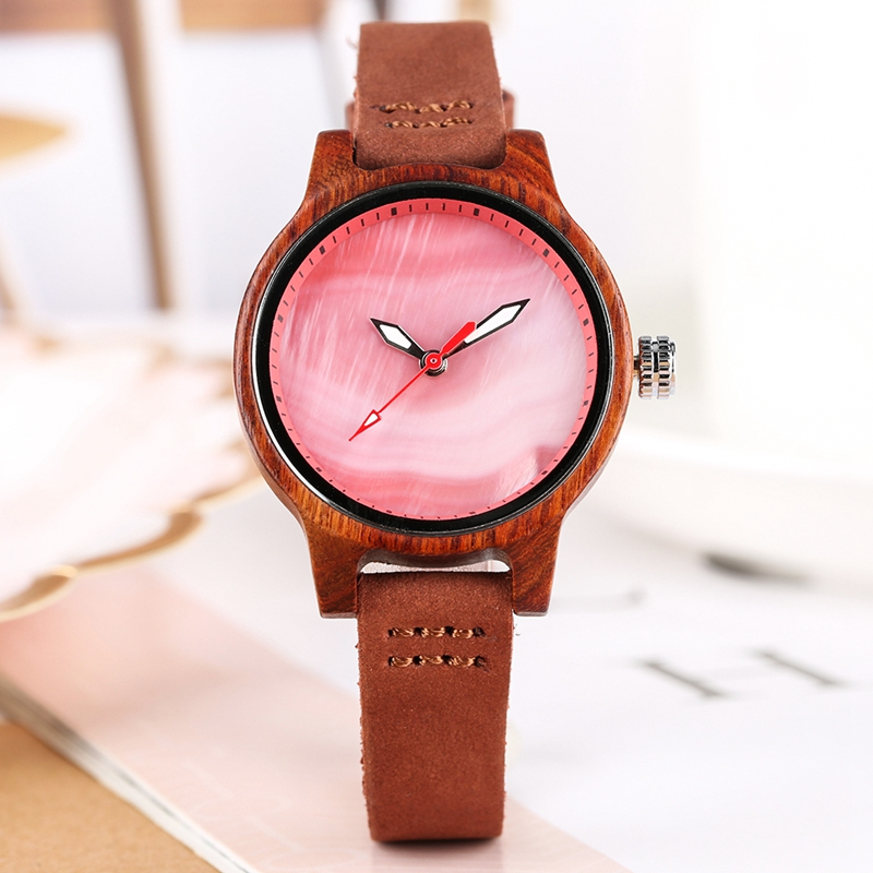 Unique Women Watch Wood Luxury Coral Blue Chic Red Casual Quartz Wooden Clock For Women Genuine Leather Wrist Watch Reloj Mujer