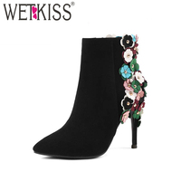 WETKISS Elegant Boots Sexy High Heels Genuine Leather Ladies Shoes Woman Brand Designers Zip Appliques Ankle