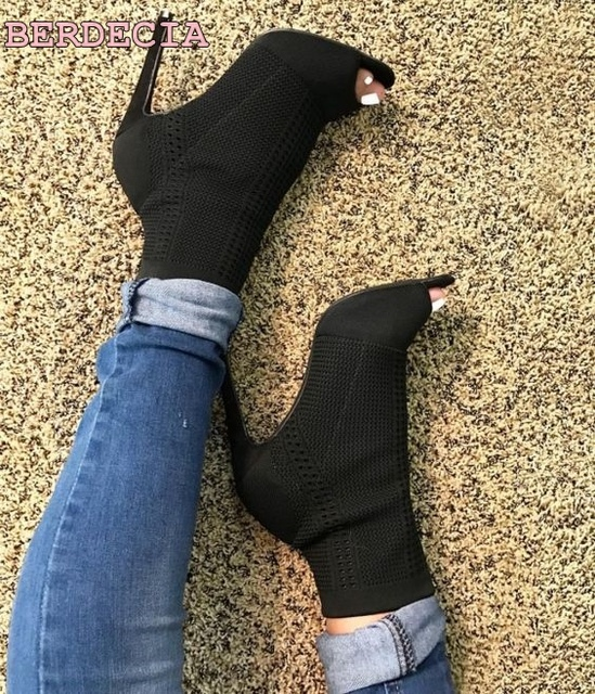 dede1a33ea7671 black Stretch knitting peep toe boots thin heel ankle boots fashion girl high  heel shoes hot