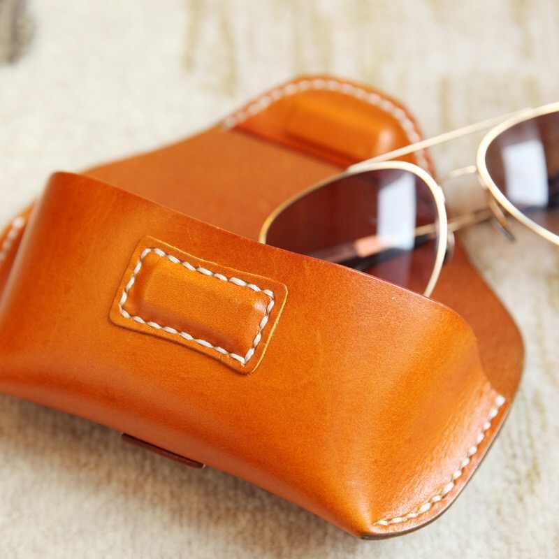 4181140d75b1 ... Women Handmade Eyeglasses for belt Cow Genuine Leather Eyeglass Case  Vegetable Tanned Eyewear Sunglasses Box Waist