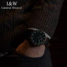 Я & W Для мужчин s часы от топ бренда, роскошные карнавальные T25 часы с Тритиевой подсветкой Для мужчин кварцевые наручные часы с кожаным ремешком reloj hombre 2018