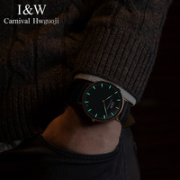 I&W Mens Watches Top Brand Luxury Carnival T25 Tritium Watch Men Quartz Wristwatch Leather Strap Clock reloj hombre 2018