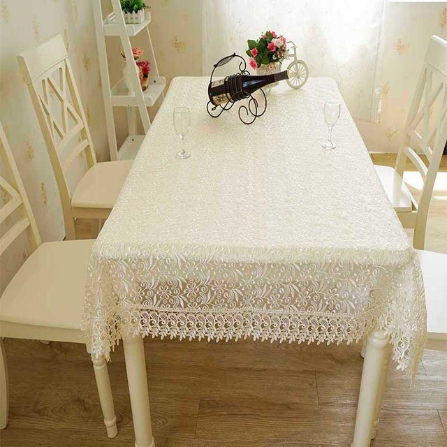 Enipate Embroidered Rose White Beige Pink Lace Table Cloth