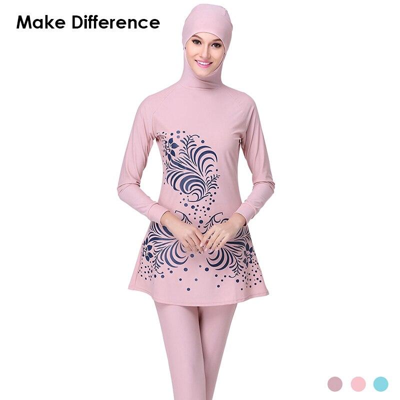 Make Difference Print Islamic Swim Wear Modest Muslim Swimwear 2 Pieces Muslim Swimsuit Connected Hijab Burkinis for Women Girls make difference leopard print islamic swimsuit arab swimwear 2 pieces connected hijab muslim swimsuit burkinis for women girls