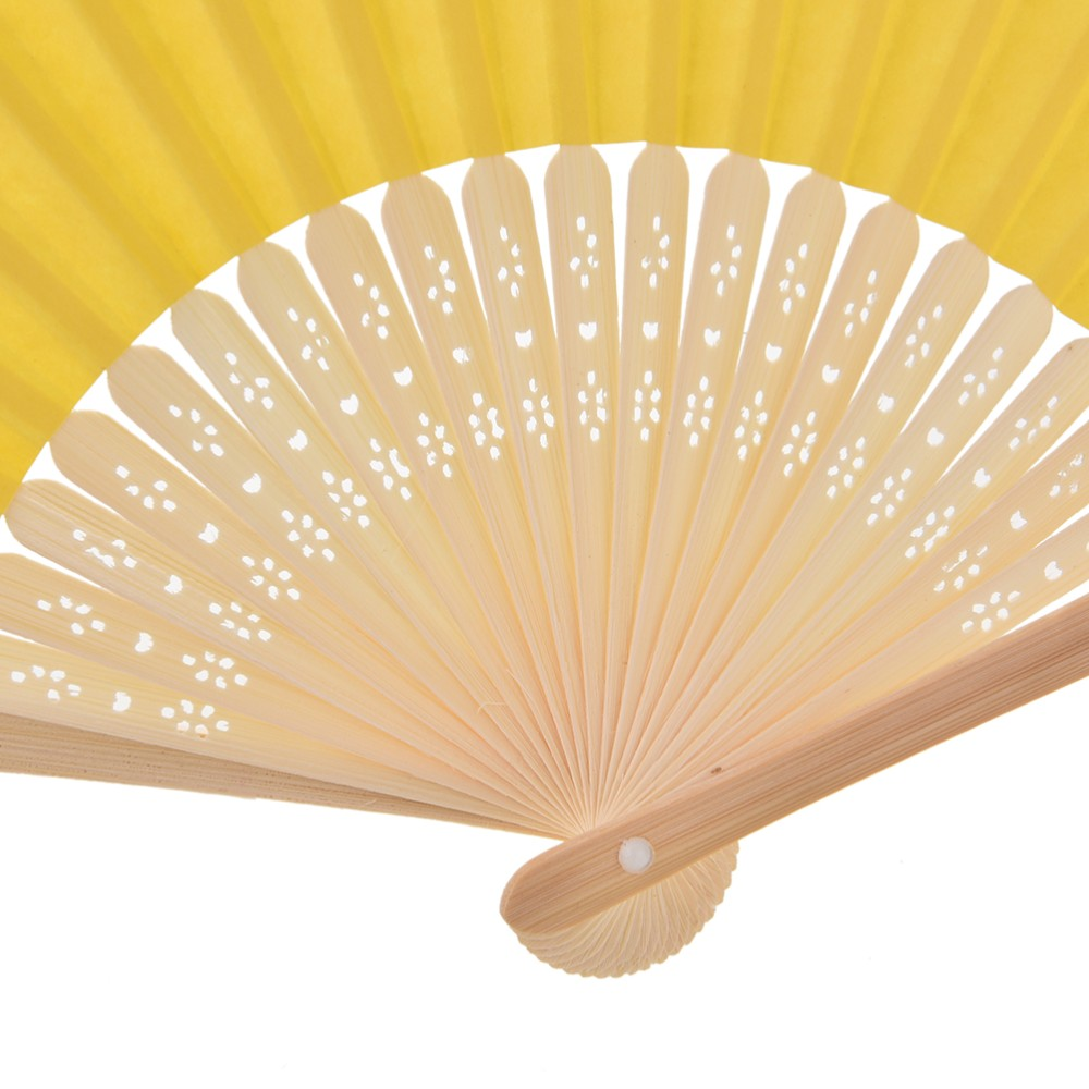 9 Colors Summer Chinese Hand Paper Fans Pocket Folding Bamboo Fan ...