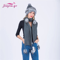Jinjin.QC 2019 New Fashion Women Scarf faux fur ball scarves and shawls winter wraps and hat Sets solid echarpe foulard femme