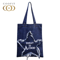 2018 Casual Canvas Cloth Shopping Bag For Women Cool Stars Holes Travel Beach Bags Girl Handbag