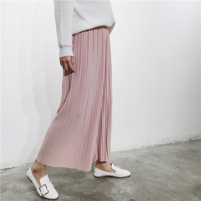H.SA Women Wide Leg   Pants     Capris   Summer Leggings black White Pink Pleated Cool Ladies Loose   Pants   Pleated Pantlone Femme 2017