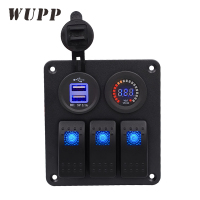 Waterproof 12V Car Auto Boat Marine Switch Panel With White Core Dual Usb Car Charger And