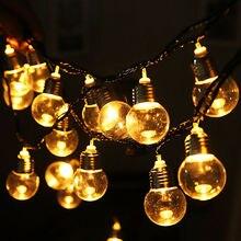 LED חיצוני שמש מנורת 9M 50 LED ברור גלוב נורות שמש Led מחרוזת פיית אור חיצוני שמש גלוב פטיו מסיבת חתונה זר
