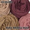 10 unids/lote mujeres maxi sólido hijabs de la bufanda de gran tamaño islam chal envolturas de cabeza suave arruga algodón deshilachado larga musulmán hijab llano