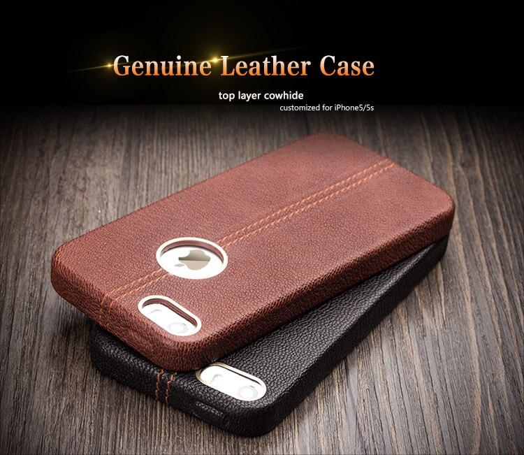 imágenes para QIALINO Nueva Llegada caja del teléfono para el iphone 5 iPhone5s caso de cuero de Vaca Genuino de Lujo para iPhone5 iPhone5s Único contraportada