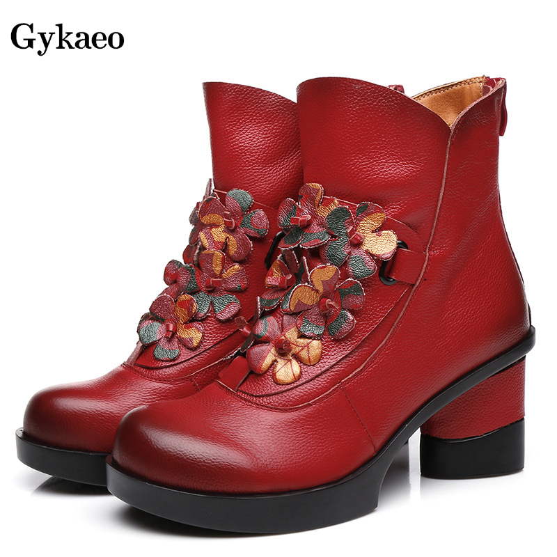 Gykaeo Winter Women s Vintage Floral High Heels Cotton Boots Thick Soled Ethnic Embroidery Real Leather