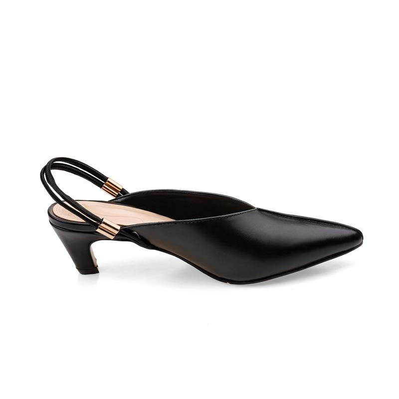 Glissement 42 Bout 2019 Pompes Bonjomarisa Véritable Femme 34 forme Taille Grande Sur Cuir Mode Plate Mi Moins Femmes Chaussures Pointu Pour Noir Talon blanc De wtwzBq