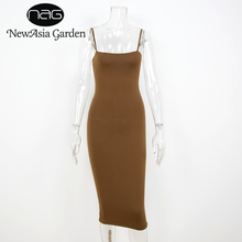 NewAsia Garden Strapyy Double Layered Cotton Bodycon Midi Dress Summer Dress Basic Club Sexy Party Long Slip Dresses Vestidos