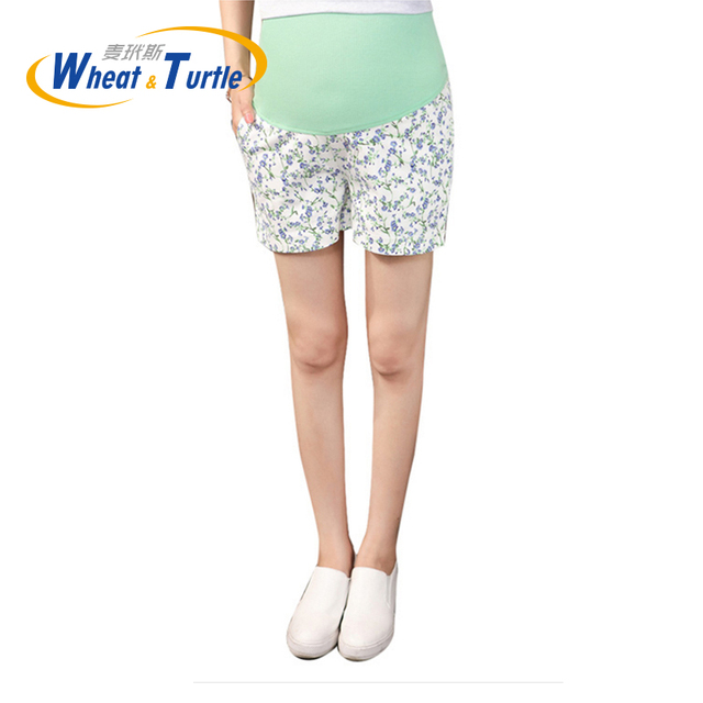 Hot Sale 2016 New Arrival Adjustable Fashion Maternity Short Pants Printed Flower Decorated Summer Hot Pants For Pregnant Women