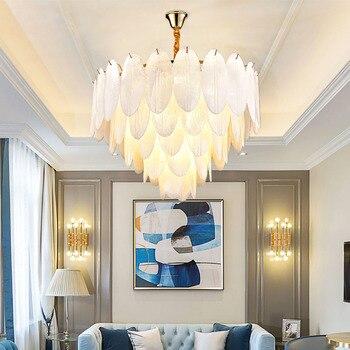 포스트 현대 럭셔리 아트 손으로 만든 광택 유리 흰색 잎 체인 펜던트 샹들리에 휴게실 복도 빌라