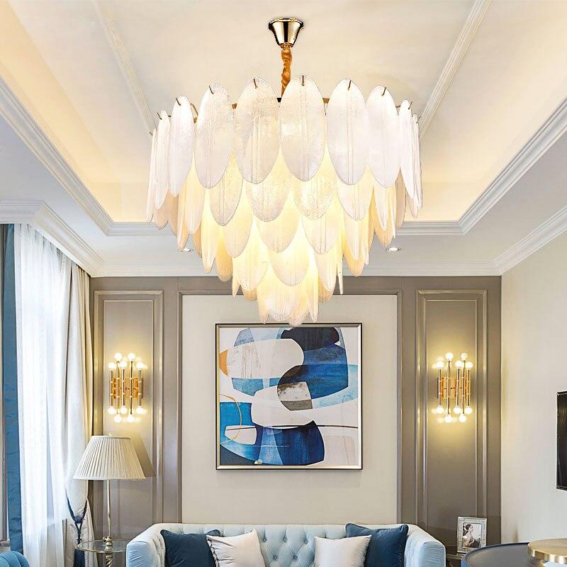 Post Modern Luxury Art Hand Made Lustre Glass White Leaves ...