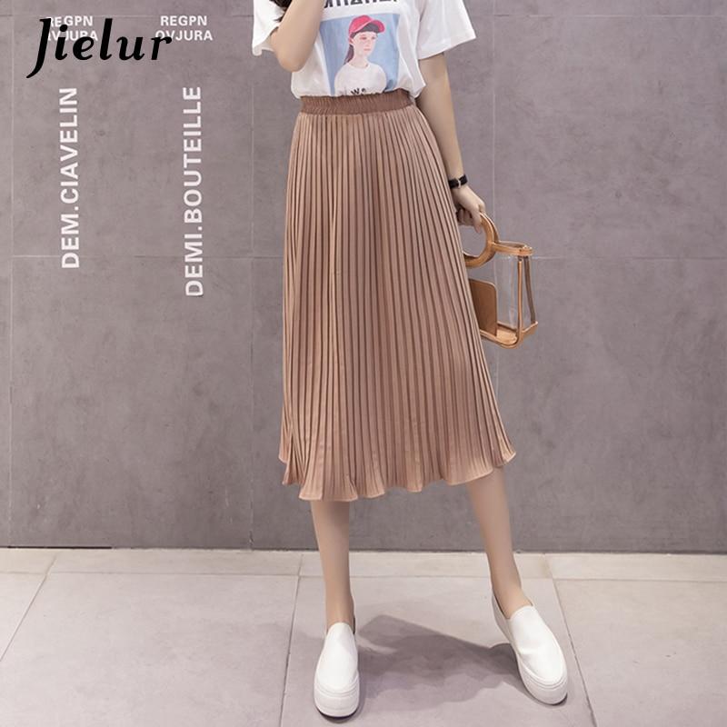 Jielur 6 Colors Korean Fashion Summer Skirt Female Chiffon High Waist Pleated Skirts Womens S XL Harajuku Faldas Mujer Dropship-in Skirts from Women's Clothing