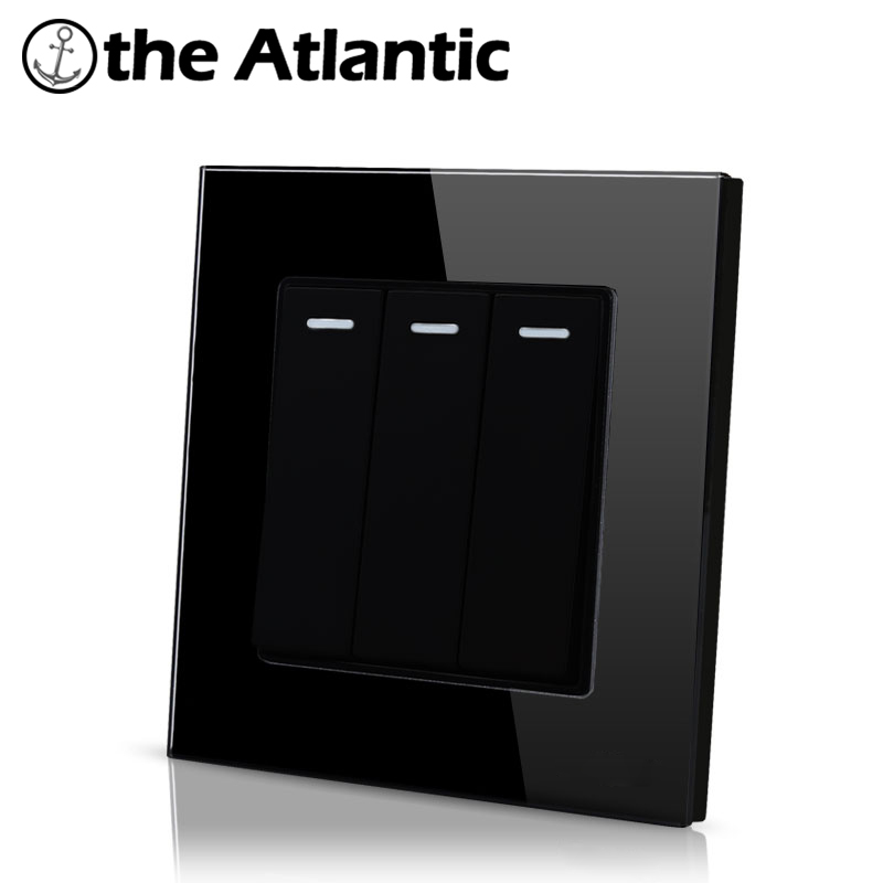 Atlantic16A 3 Gang 2 Way  Hotel Luxury Crystal Tempered Glass  4 Color Universal Standard Push Button Light Wall Switch Big sale палатка сплав atlantic 4 цвет зеленый