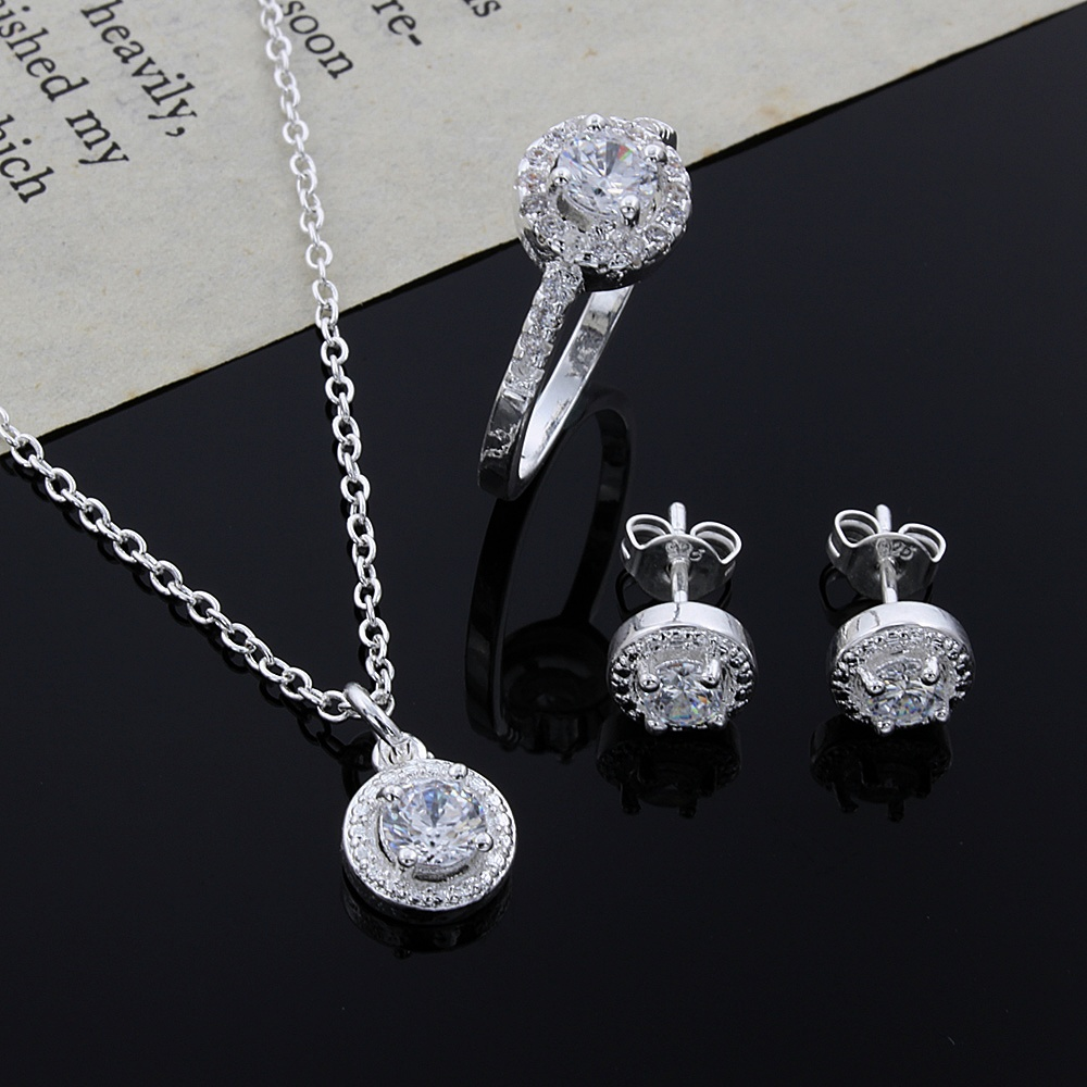 Christmas Gift Noble Silver Fashion Elegant Women Classic Shiny Crystal CZ Necklace Earring Ring Color Jewelry Set