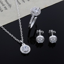 Christmas gift noble silver fashion elegant women classic shiny crystal CZ necklace earring ring plated jewelry Set