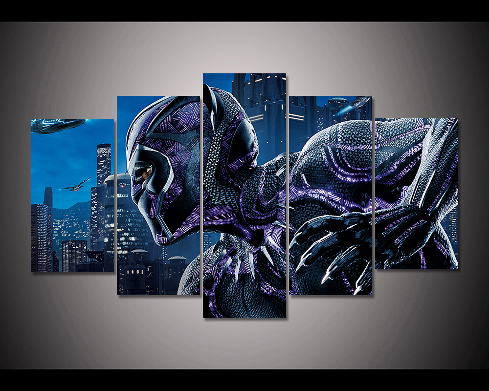 HD Print 5pcs Canvas Painting Black Panther Movie Poster