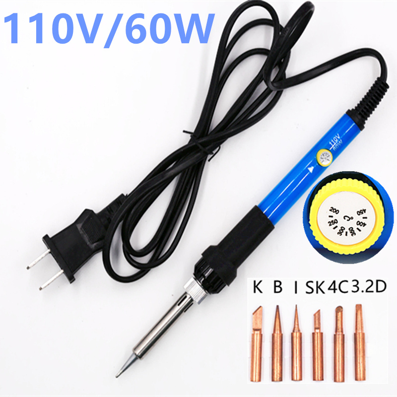 110V 220V 60W Adjustable Temperature Electric Soldering Iron Welding Solder Station Heat Pencil With 6pcs Copper Tips temperature adjustable electric soldering iron mini handle heat pencil solder station with iron tips stand wire 110v 220v 60w