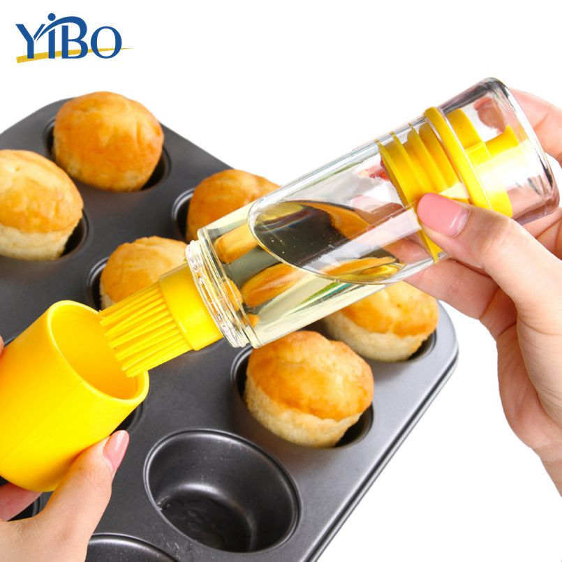 YIBO 1PC Silicone Oil Brush Double Head Basting Brush Barbecue Gadget Leak Proof Cooking Baking Tool Kitchen Oil Bottle BBQ Tool