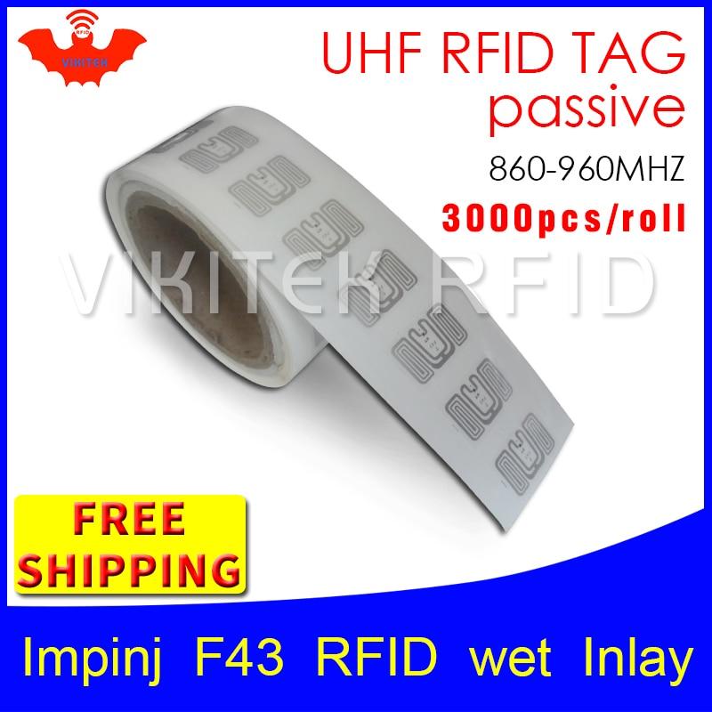 UHF RFID tag sticker Impinj F43 EPC6C wet inlay 915mhz868mhz860-960MHZ Higgs3 3000pcs free shipping adhesive passive RFID label uhf rfid tag epc 6c sticker impinj j41 wet inlay 915mhz868mhz860 960mhz higgs3 100pcs free shipping adhesive passive rfid label