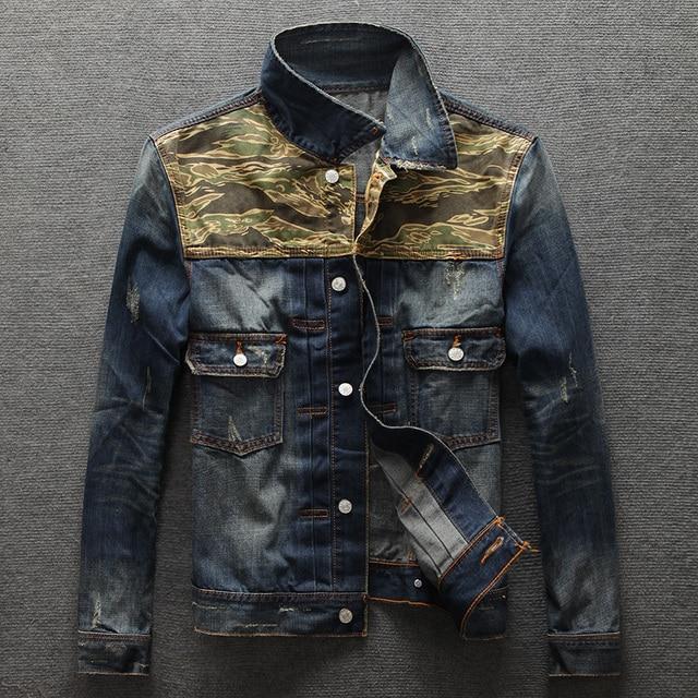 2016 Vintage Military Jacket Mens di Disegno Dei Jeans Dell uomo Giubbotti  Uomo Abbigliamento Jeans 6a29e8c89f3