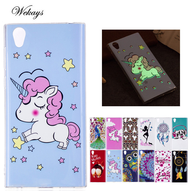 Wekays Luminous Case For Coque Sony Xperia L1 Sony E6 G3311 G3312 Cute Cartoon Unicorn Owl Skull Silicone Fundas Cover Cases