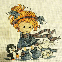 The little girl and friends cross stitch kit DMC counted aida 14ct 11ct black hand embroidery DIY handmade needlework supplies(China)