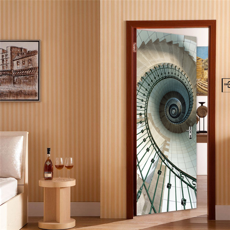 Us 24 99 15 Off 2 Sheets Pcs 3d Dark Eye Stair Mural Sticker Spiral Staircase Door Poster Special Diy Wall Paper For Corridor Bedroom Cafe Decor In