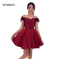 Цвет красного вина, платья выше колена для выпускного вечера, короткие милые платья для выпускного вечера с бантом на плечах, vestidos cortos SHD06