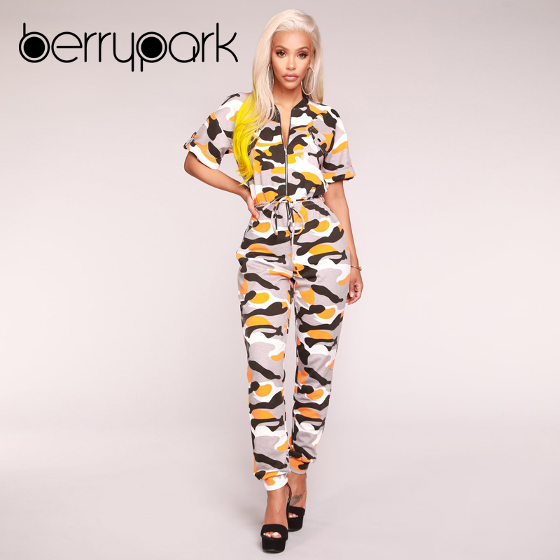 9c9523ec96b BerryPark 2019 Women Yellow Camo Overalls Camouflage Jumpsuits Sportswear  Running Gym Sport Suits Outdoor Clothes Workout