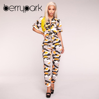 BerryPark 2019 Women Yellow Camo Overalls Camouflage Jumpsuits Sportswear Running Gym Sport Suits Outdoor Clothes Workout Wear